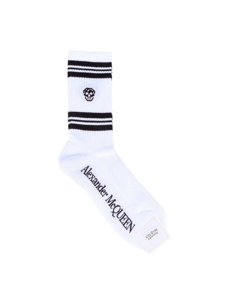 Alexander McQueen Socks Stripe Skull Sport - White