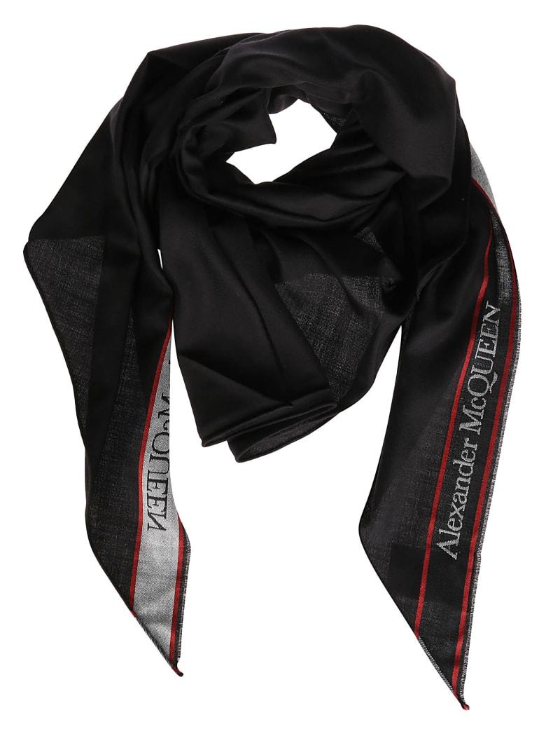 Alexander McQueen Black Wool-silk Blend Scarf - Black