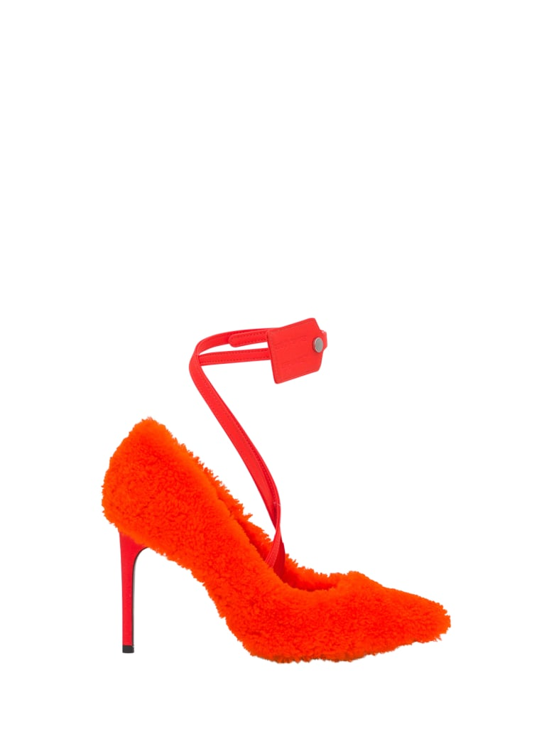 Off-White Furry Zip Tie Pump - Arancio