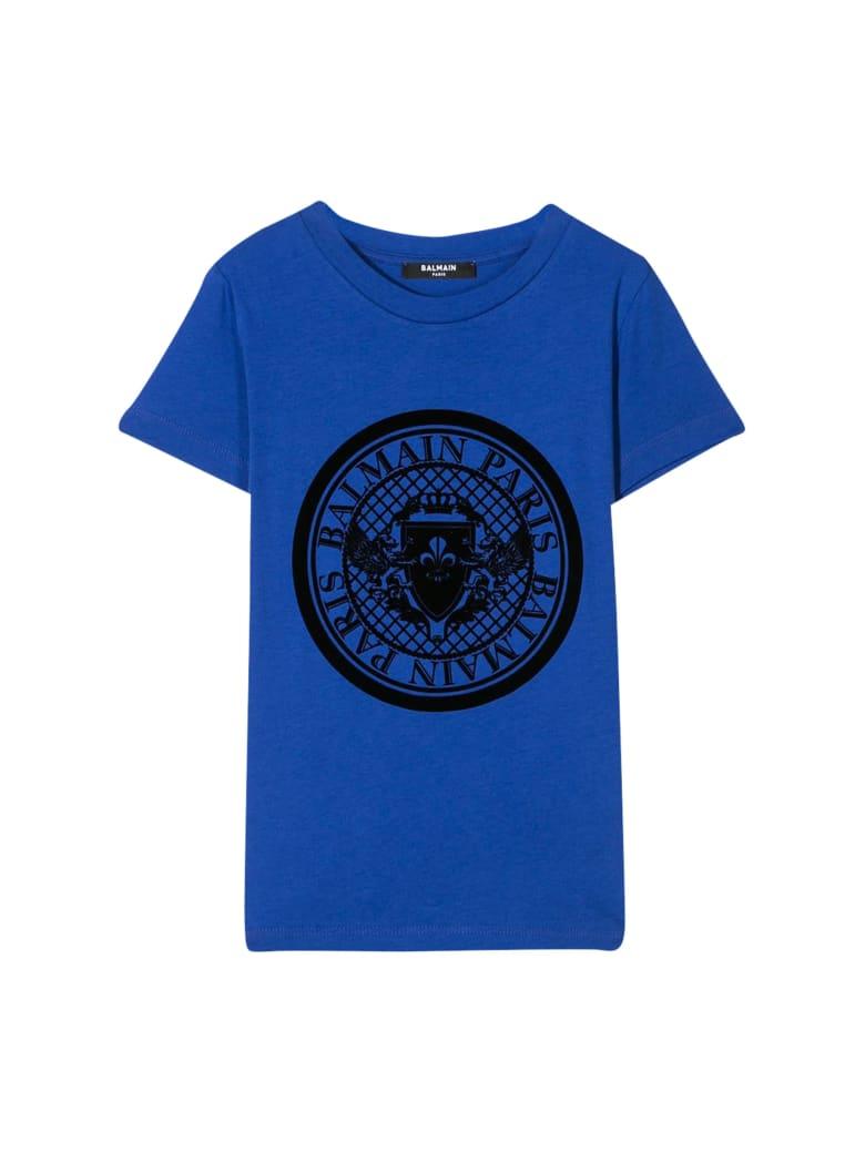 Balmain Kids Logo T-shirt - Blu elettrico