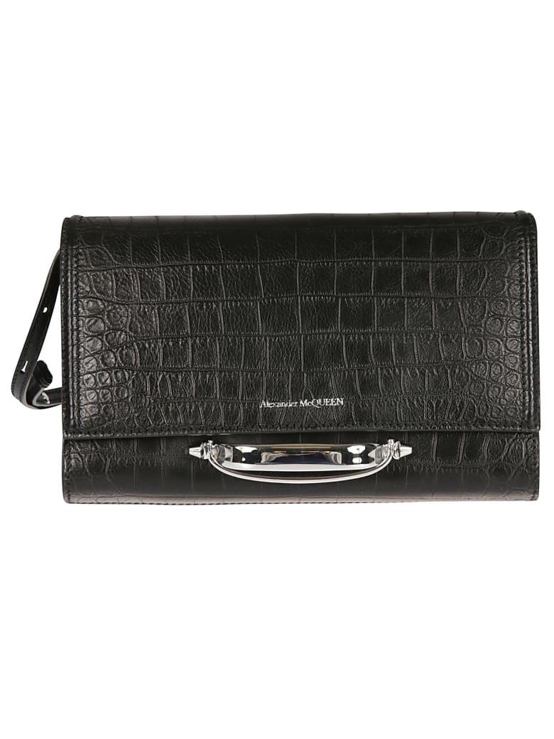 Alexander McQueen Flap Logo Detail Shoulder Bag - Black