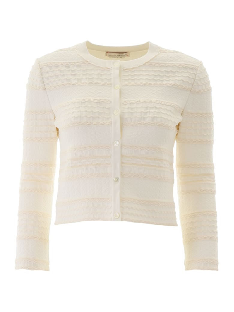Alexander McQueen Cropped Cardigan - IVORY (White)
