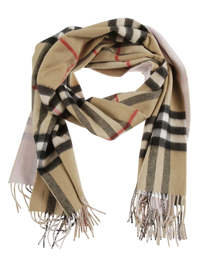 Burberry Giant Check To Solid Long Double Faced Scarf - Frosted Pink