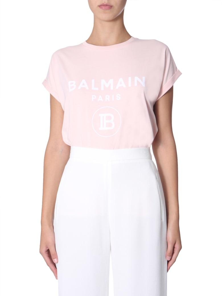 Balmain Flocked Logo T-shirt - ROSA