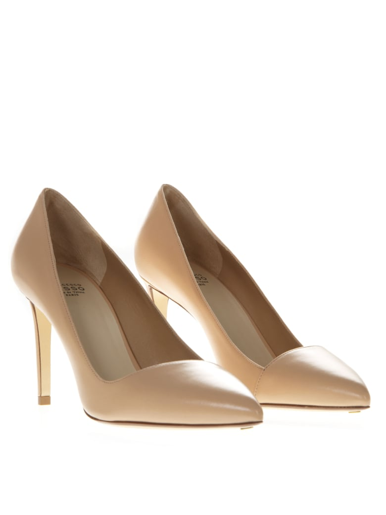 Francesco Russo Nude Leather Pumps - Nude