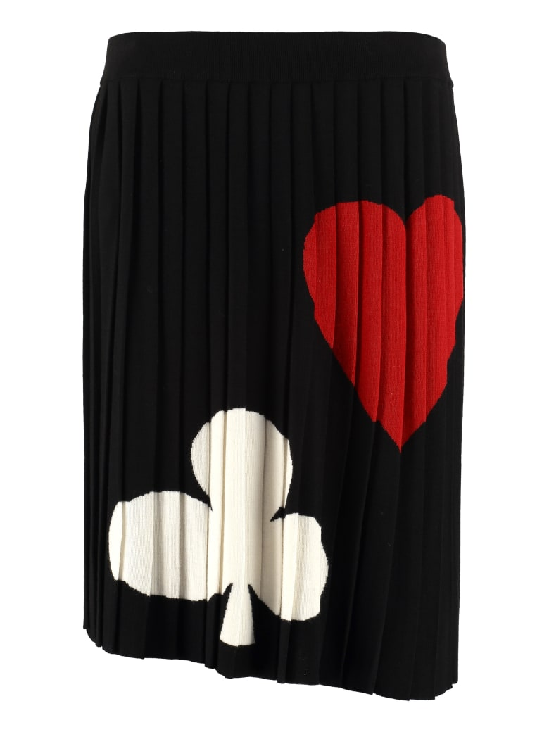 Boutique Moschino Pleated Knitted Skirt - black