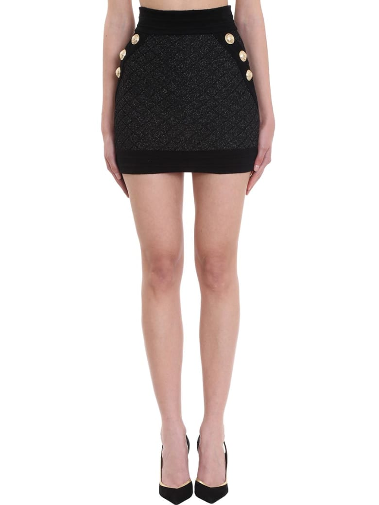 Balmain Short Black And Silver Knit Skirt - black