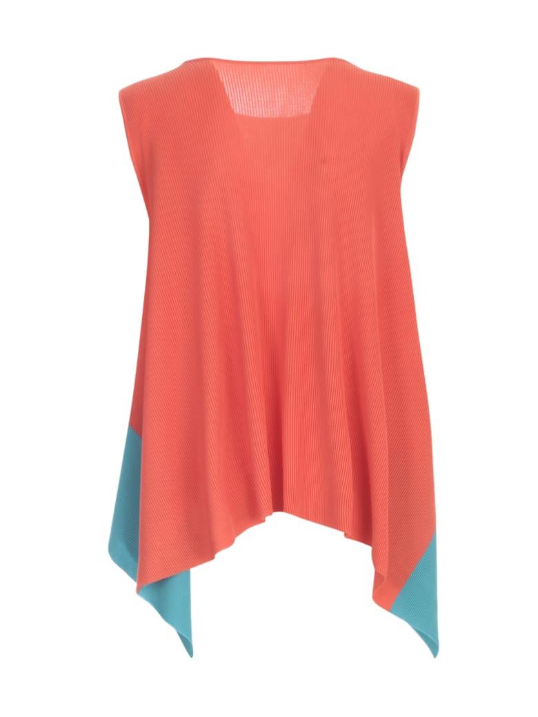 Pleats Please Issey Miyake Misk Knit Sleeveless Sweater - Orange Blue