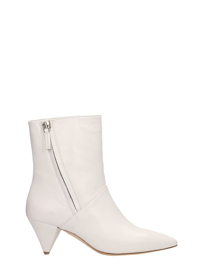 The Seller White Leather Ankle Boots - white