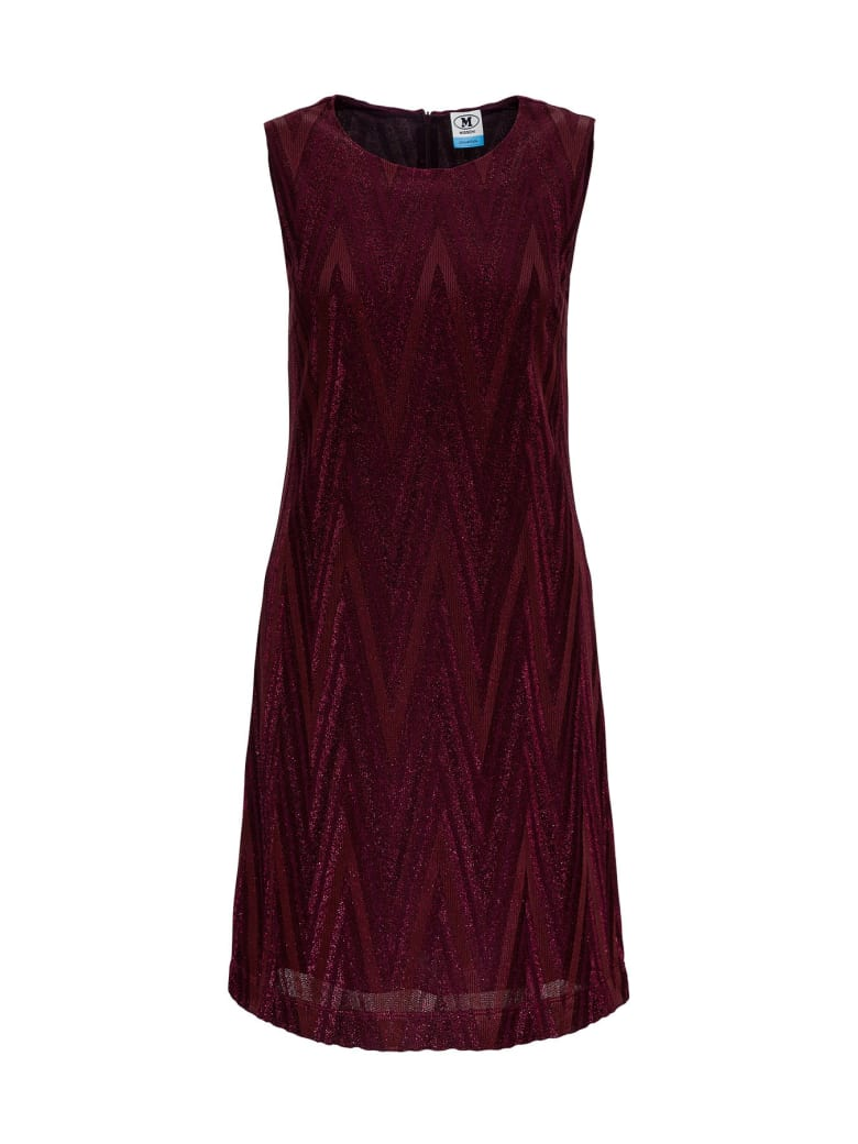 M Missoni Sheath Dress In Lurex Jersey With Chevron Pattern - Bordeaux