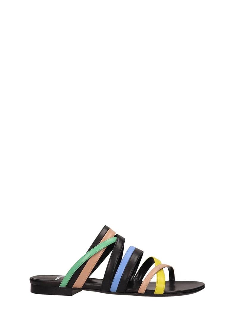 Pierre Hardy Black Leather Alpha Crisscros Sandals - black