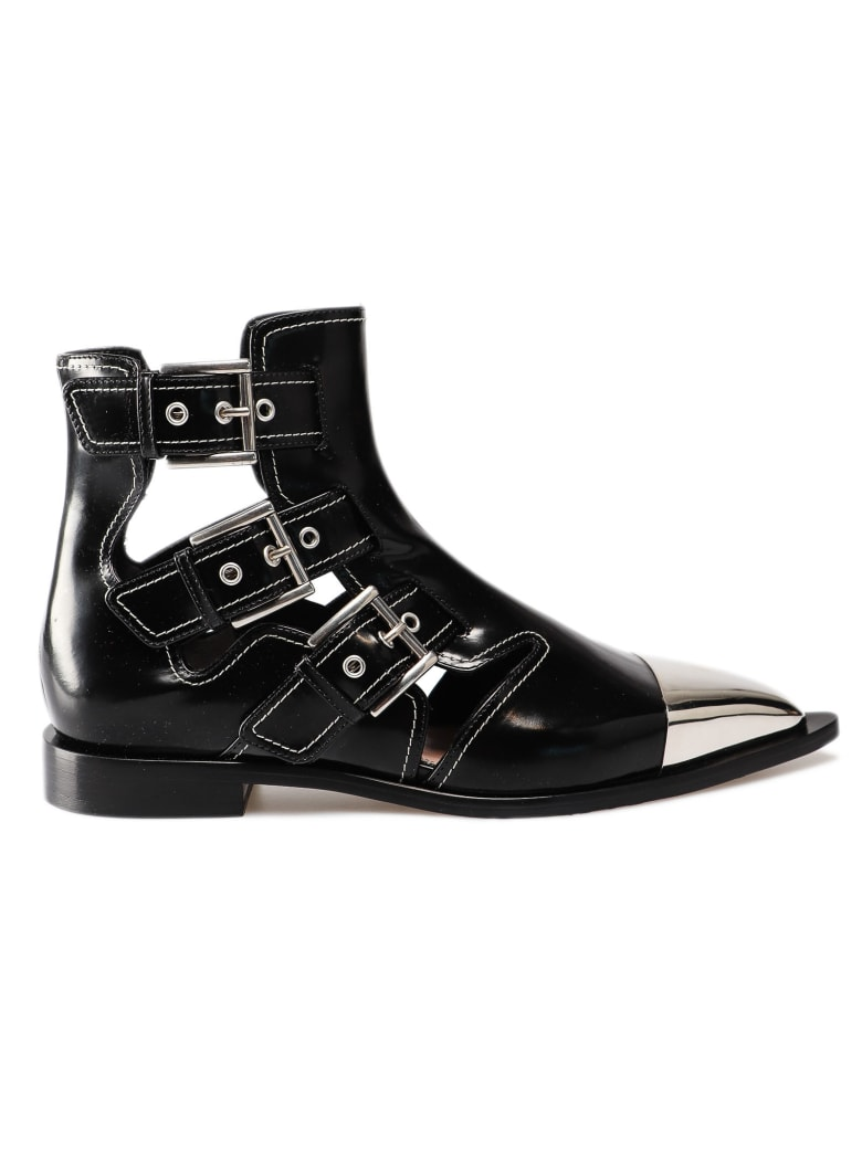 Alexander McQueen Buckled Boots - Black/ivory/silver