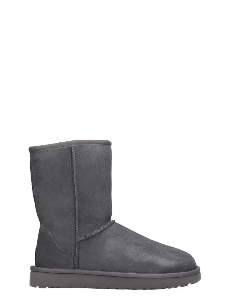 UGG Classic Short  Low Heels Ankle Boots In Grey Suede - grey