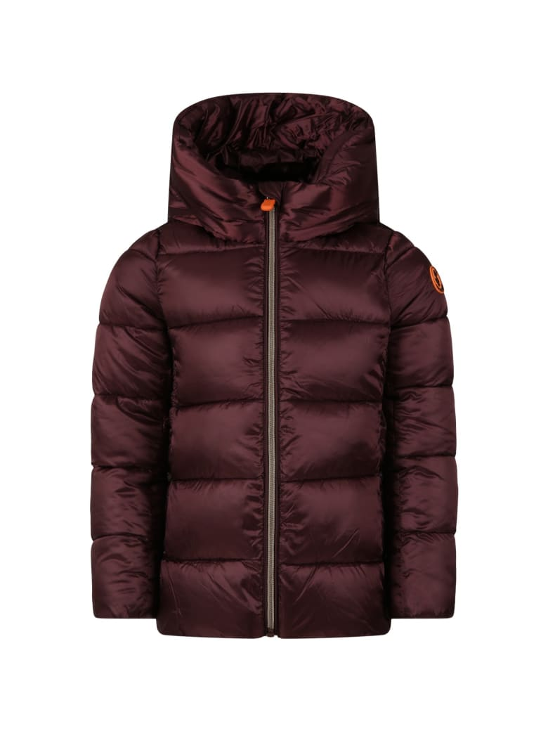 Save the Duck Bordeaux Jacket For Girl With Iconic Logo - Bordeaux