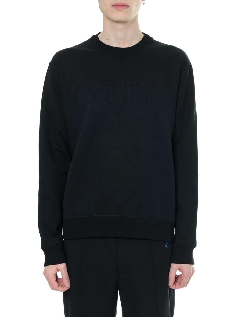 Valentino Black Vltn Sweatshirt In Cotton - Black