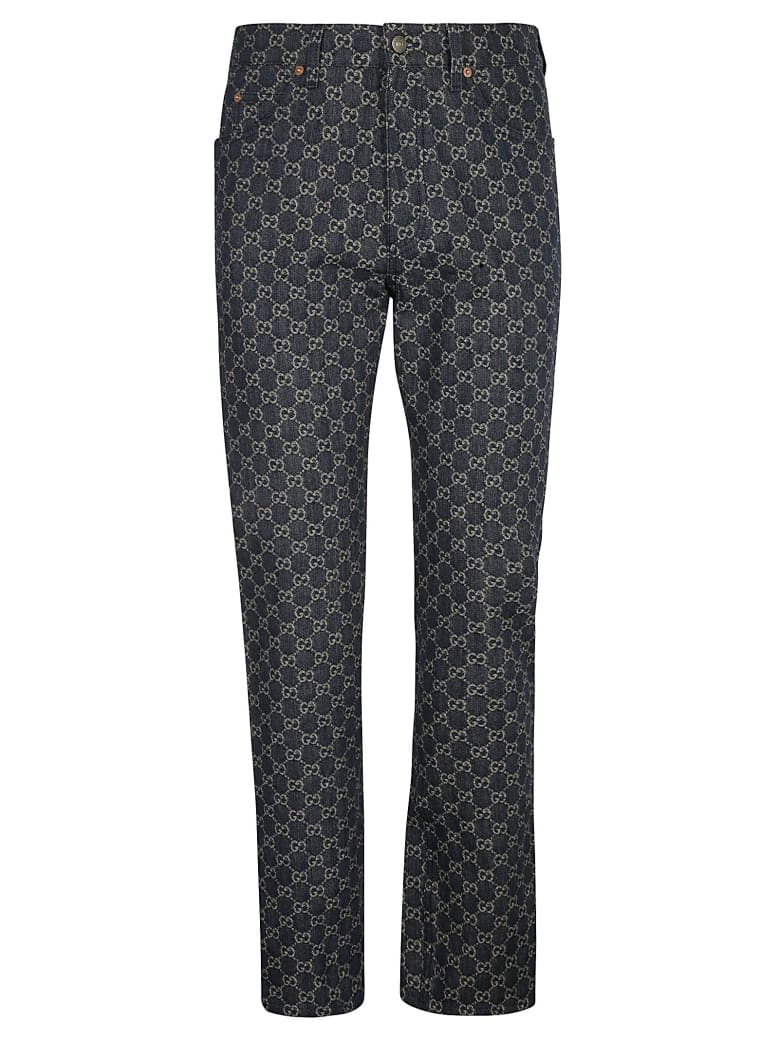 Gucci All-over Logo Jeans - Dark Blue/Ivory Mix