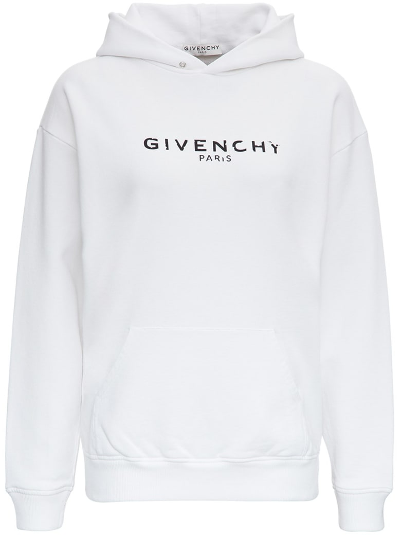 Givenchy Cotton Hoodie With Logo Print - White