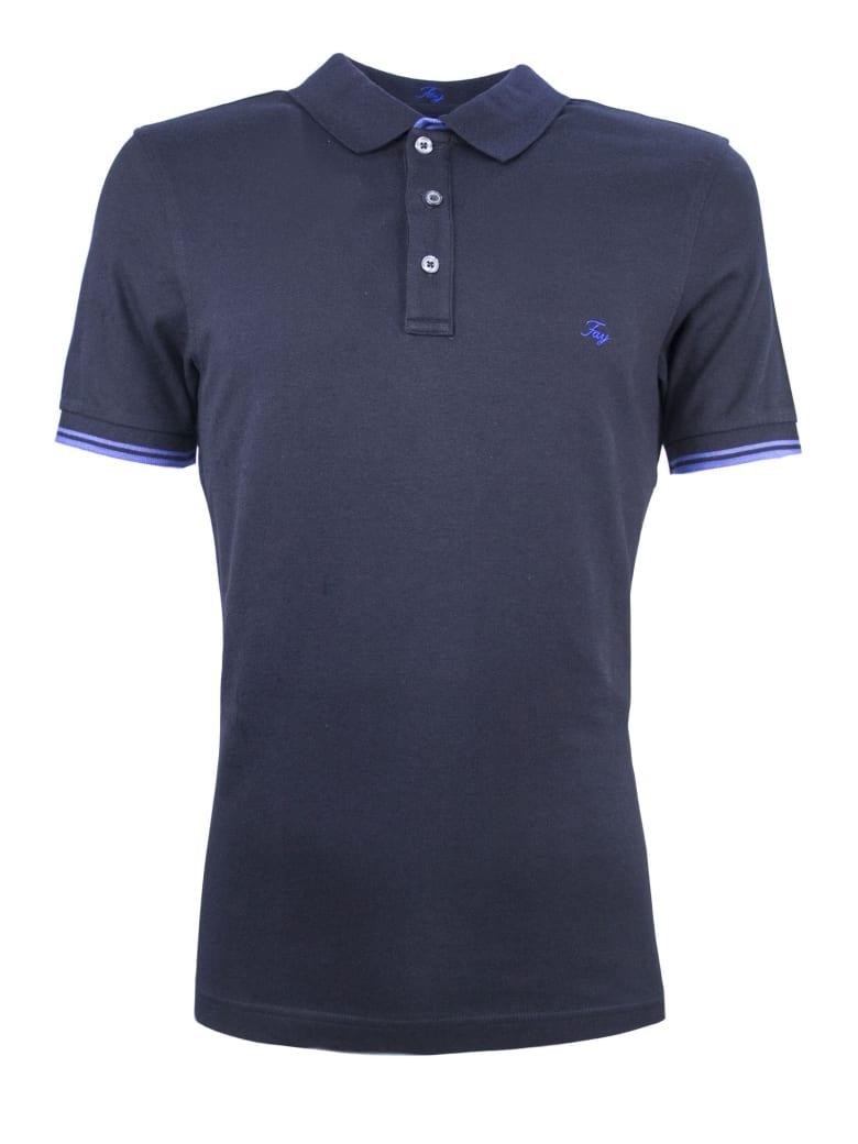 Fay Blue Cotton Polo Shirt - Blu
