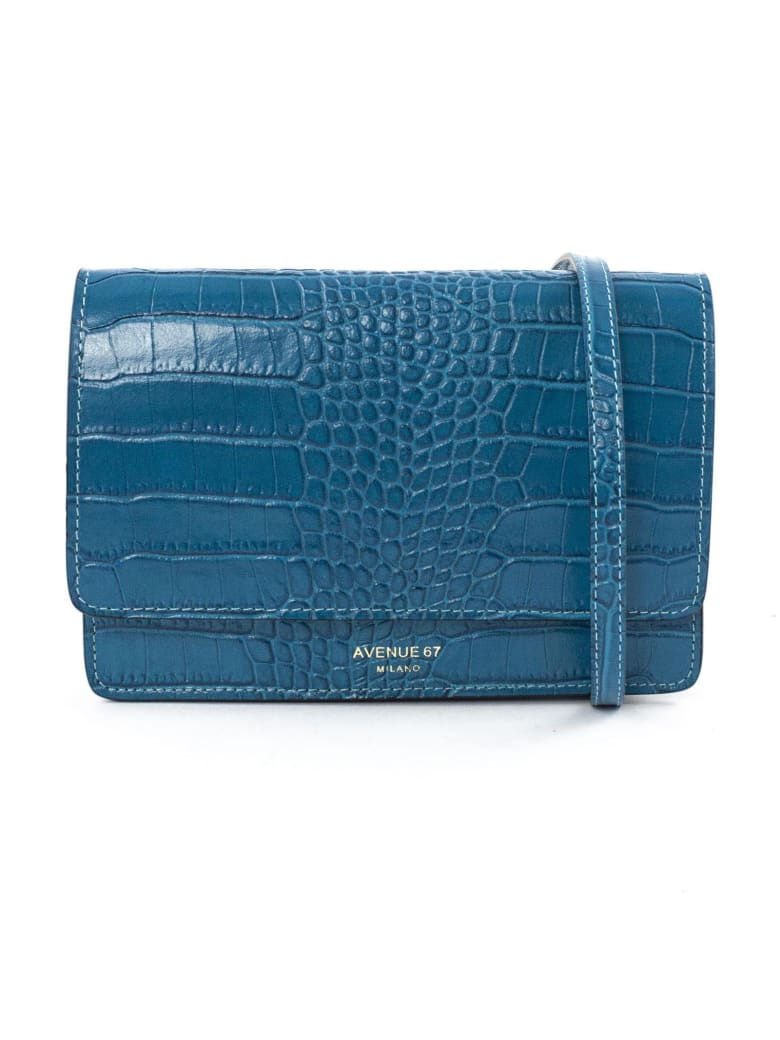 Avenue 67 Turquoise Leather Clutch Bag - Turchese