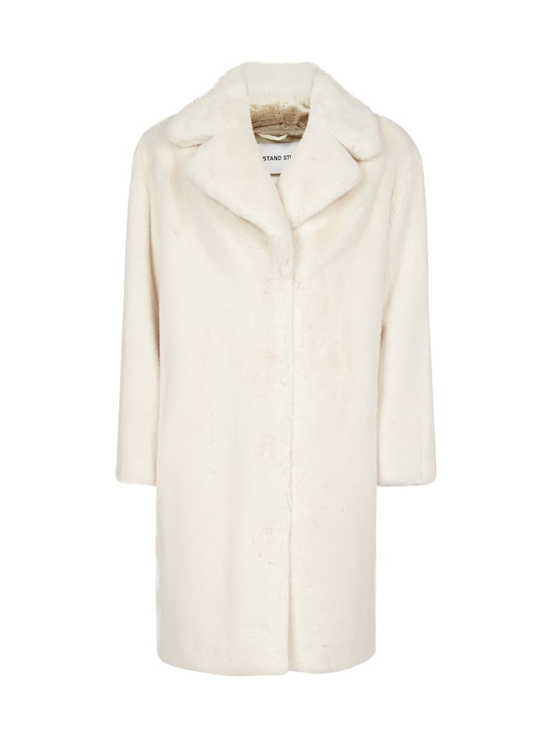 STAND STUDIO Camille Faux-shearling Coat - White