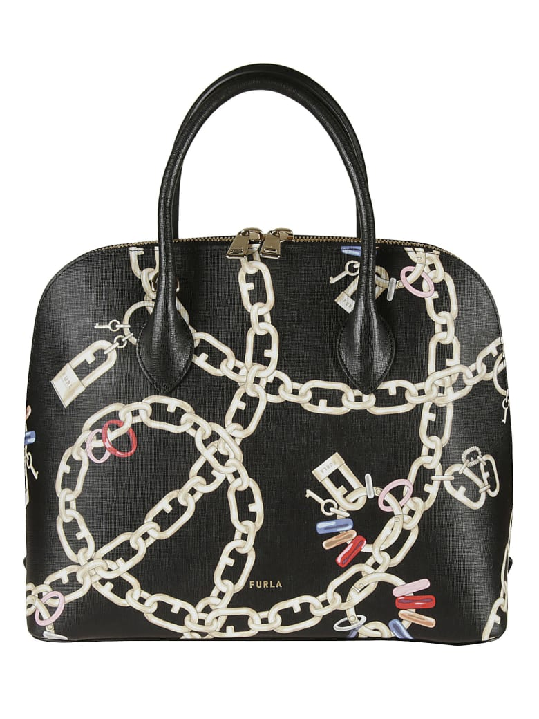 Furla Chain Printed Tote - black