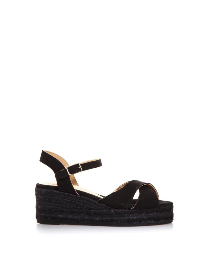 Castañer Black Cotton Crossed Sandals - Black