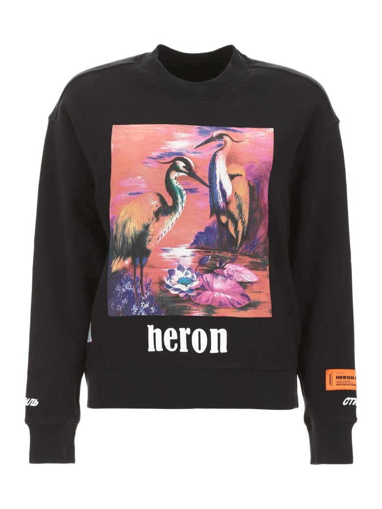 HERON PRESTON Heron Birds Sweatshirt - BLACK MULTI (Black)
