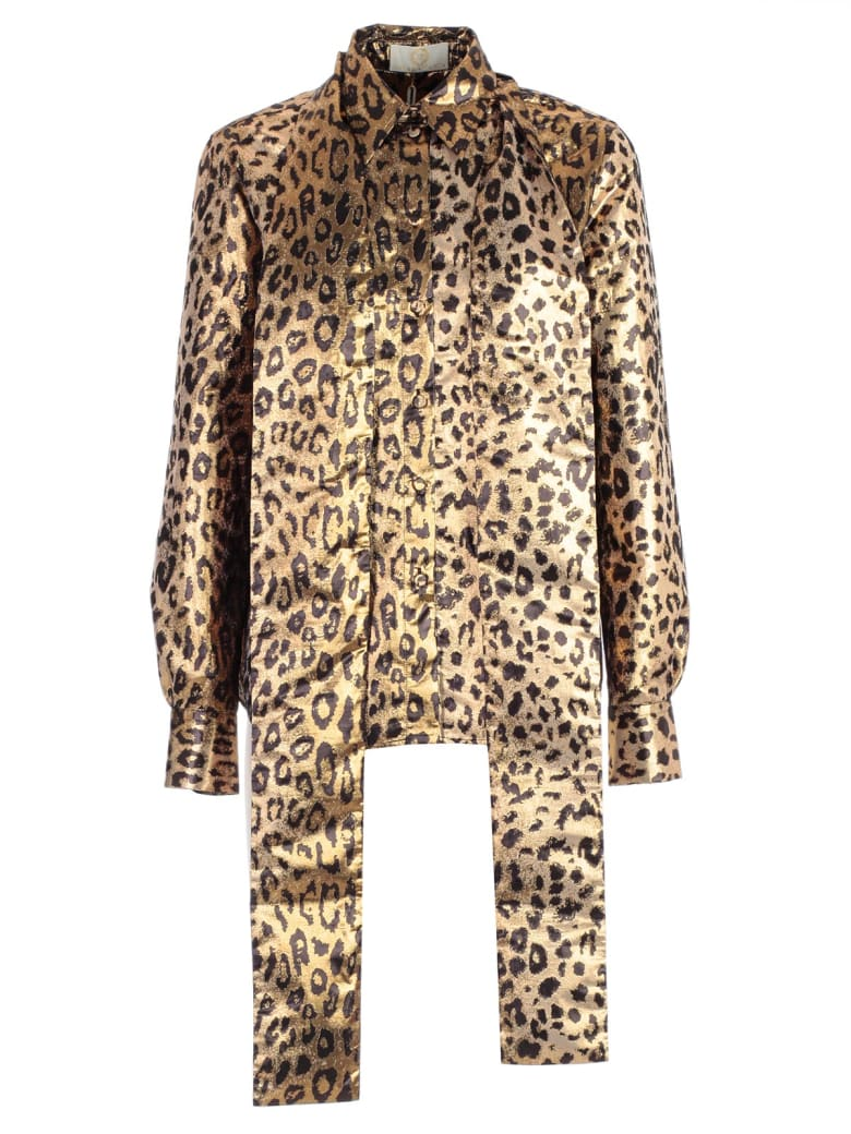 Sara Battaglia Leopard Embellished Shirt - Leo Lurex