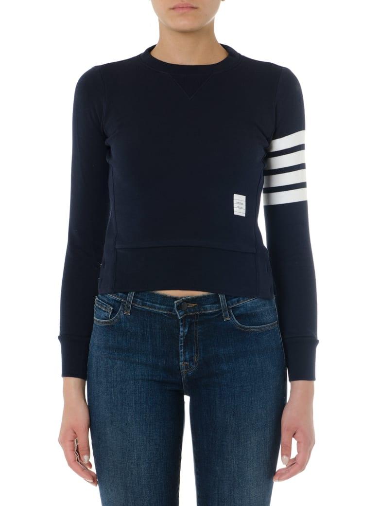 Thom Browne Navy Cotton Striped Sweatshirt - Navy