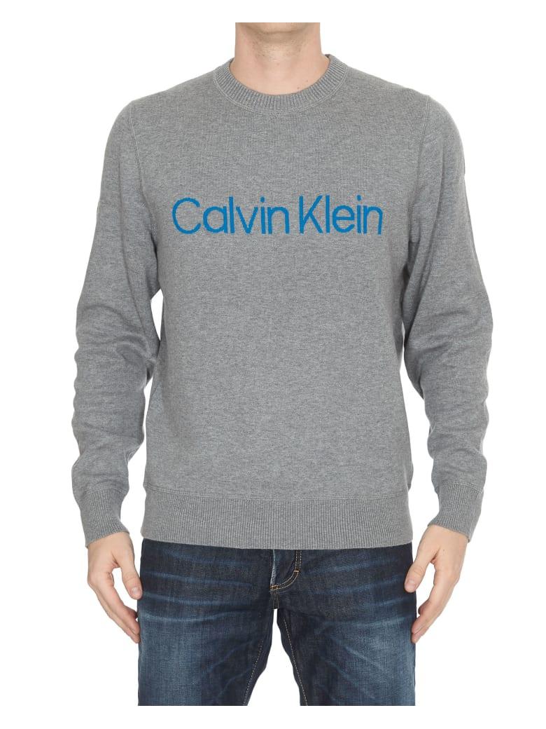Calvin Klein Cotton Blend Chest Logo Sweater - Grey