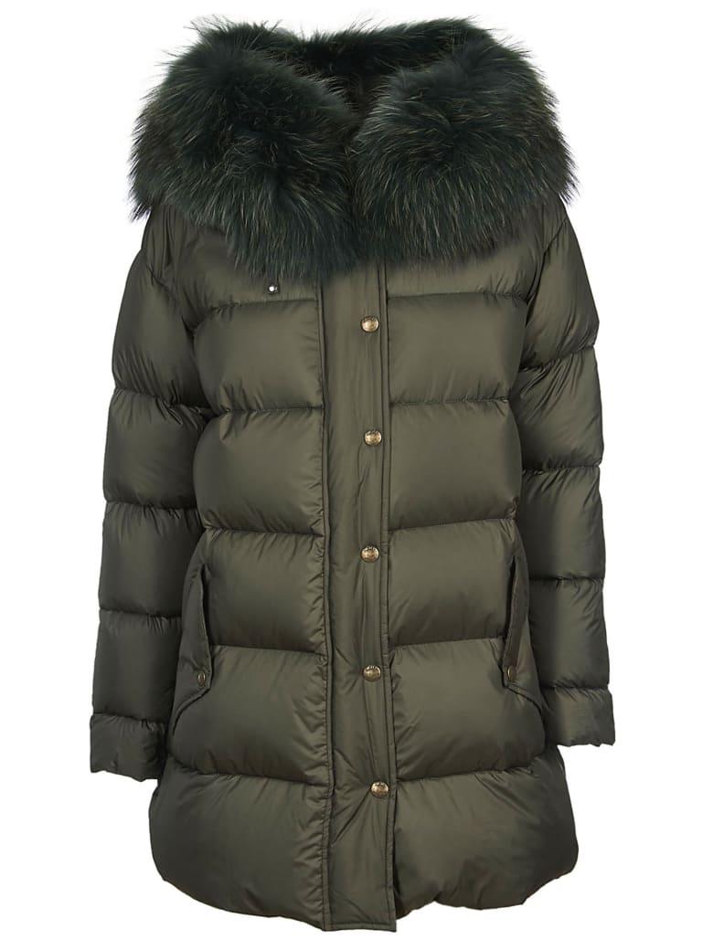 Mr & Mrs Italy Fur Trim Down Jacket - Green