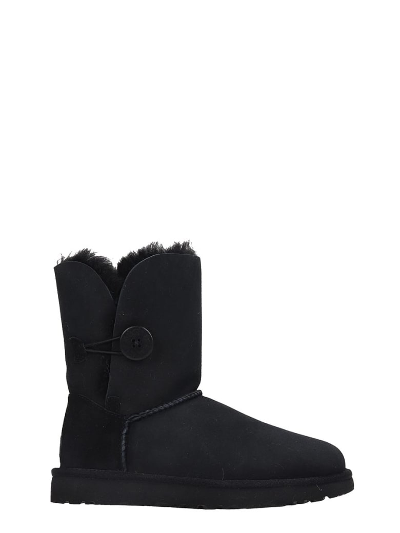 UGG Bailey Button I Low Heels Ankle Boots In Black Suede - black