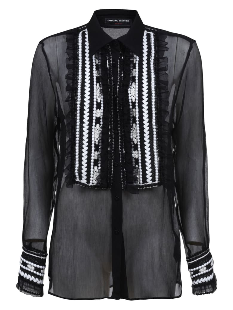 Ermanno Scervino Pattern Embroidered Lace Shirt - Black