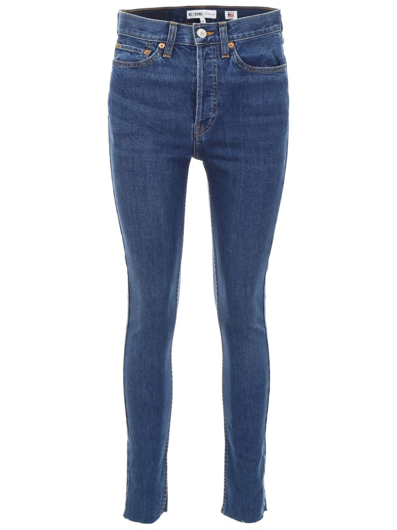 RE/DONE High Rise Ankle Crop Jeans - DARK WASH (Blue)