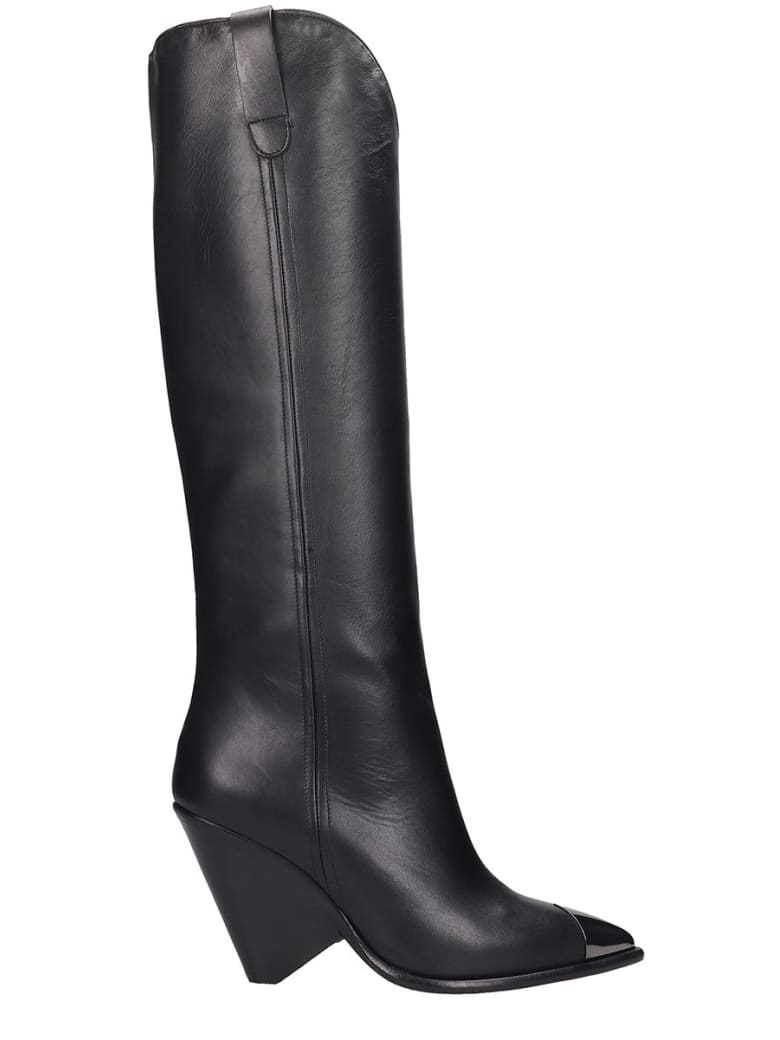 The Seller High Heels Boots In Black Leather - black