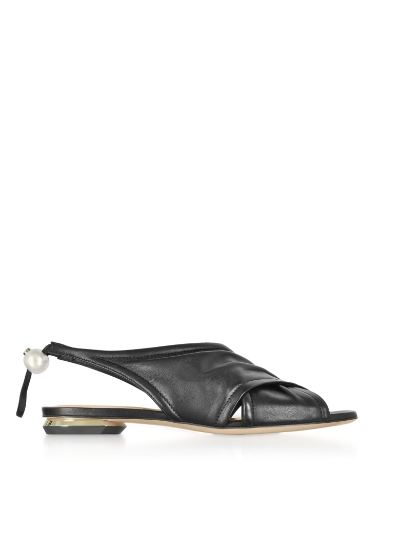 Nicholas Kirkwood Black Nappa 10mm Delfi Sandals - Black