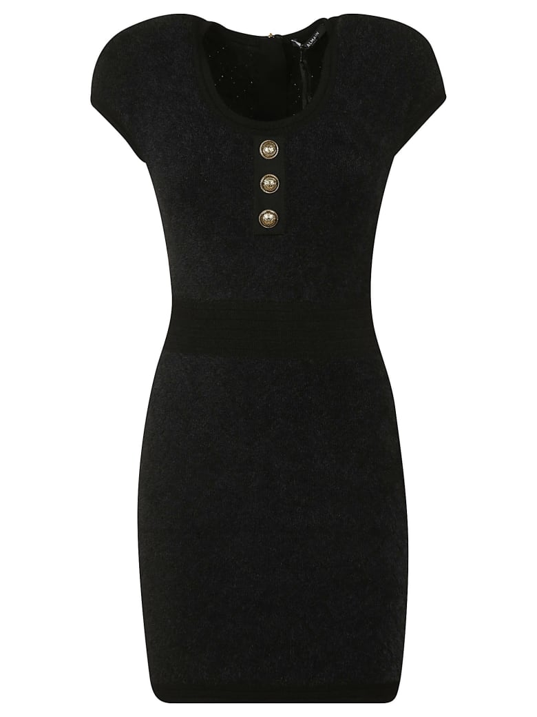 Balmain Capped Sleeve Dress - Black