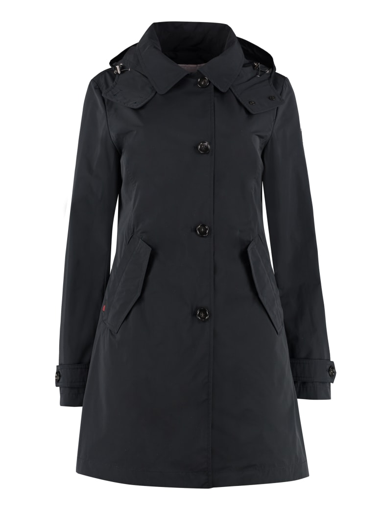 Woolrich Charlotte Hooded Trench Coat - blue