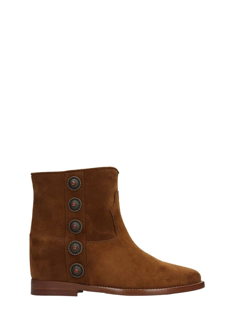Via Roma 15 Low Heels Ankle Boots In Leather Color Suede - leather color