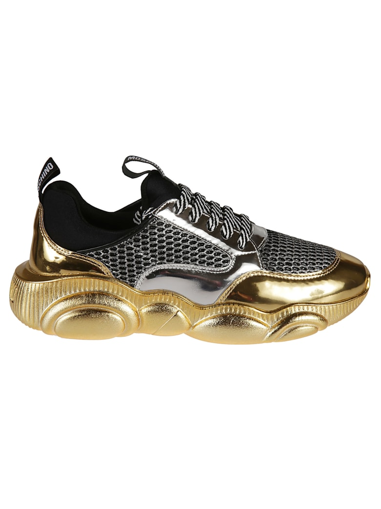 Moschino Mesh Detailed Metallic Sneakers - Black/Gold