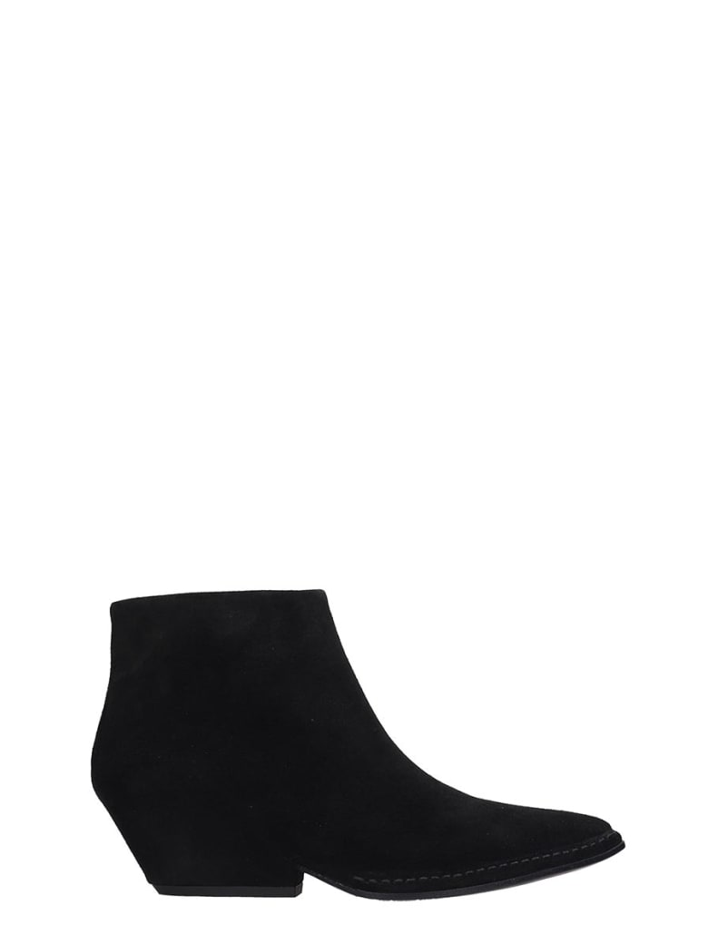 Del Carlo Texan Ankle Boots In Black Suede - black