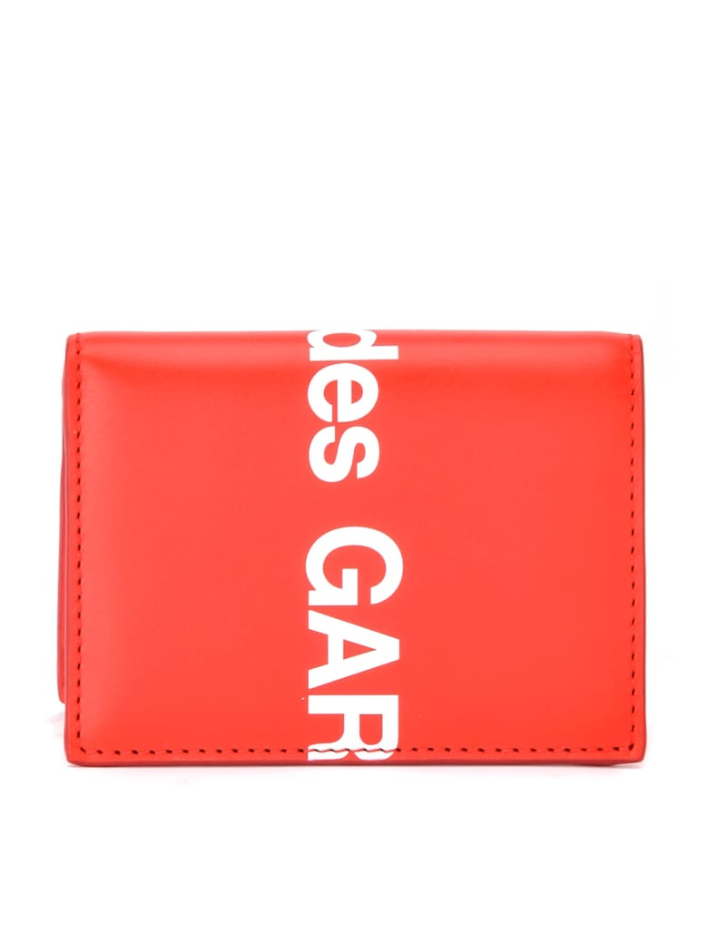 Comme des Garçons Wallet Comme Des Gar & Ccedil Wallets; Ons Wallet Huge Logo In Red Leather - ROSSO