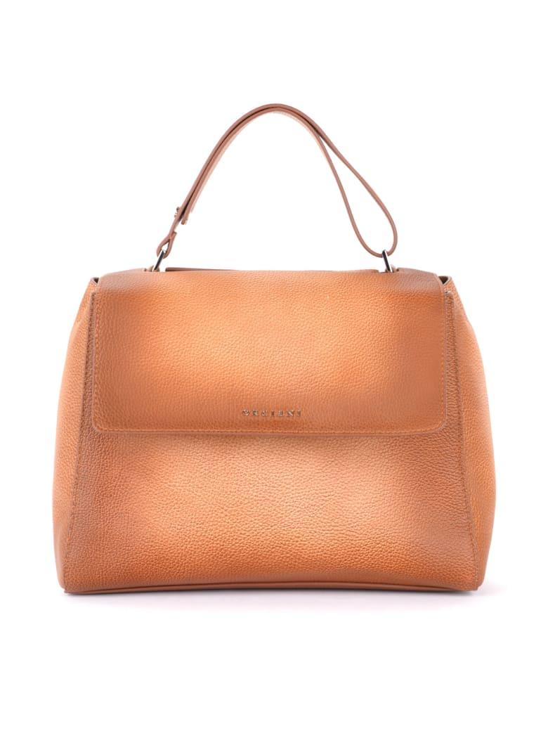 Orciani Sveva Medium Handbag In Shaded Tan Leather - MARRONE