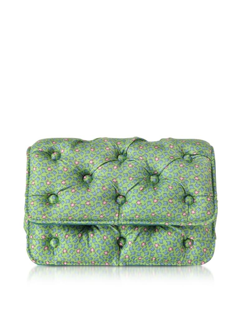 Benedetta Bruzziches Frogs Printed Green Satin Silk Carmen Shoulder Bag - Green