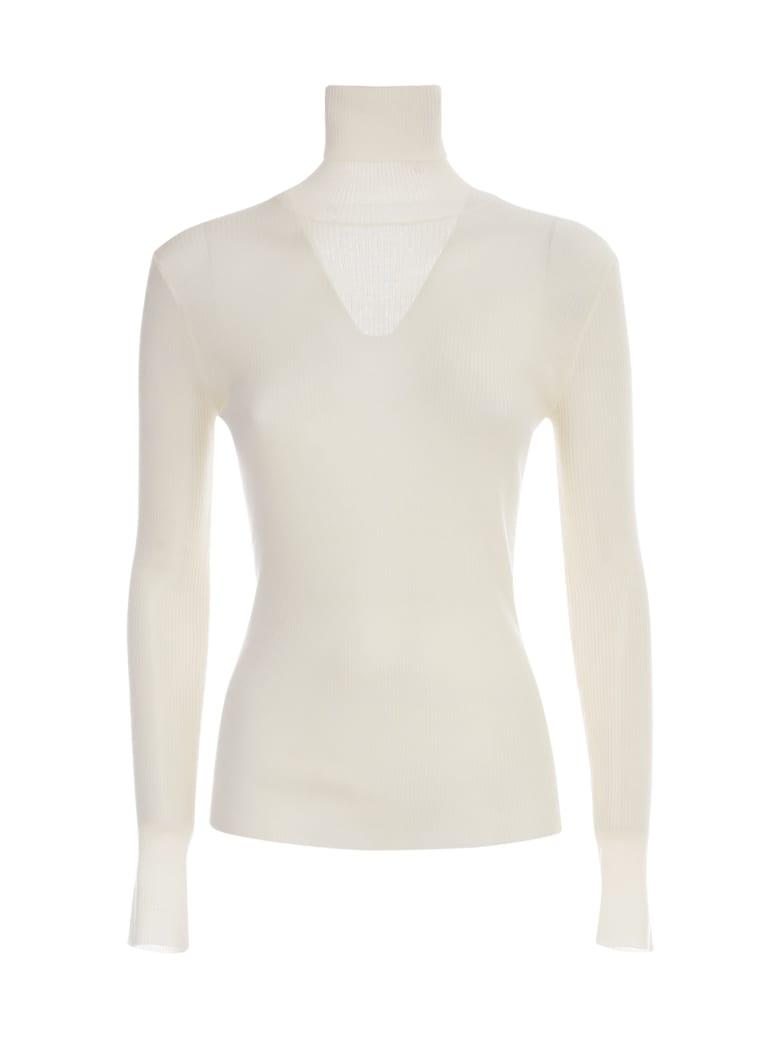 Nuur High Neck 100% Merino Wool Ribbed Sweater - Panna