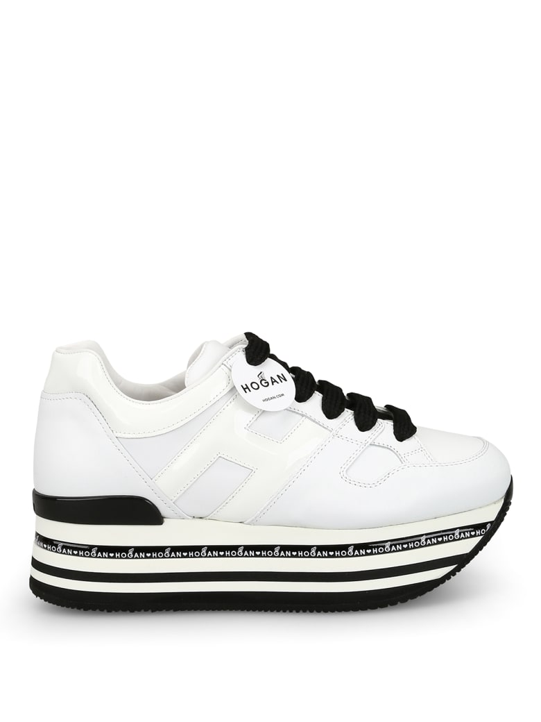 Hogan H413 Oversized White Leather Sneakers - White