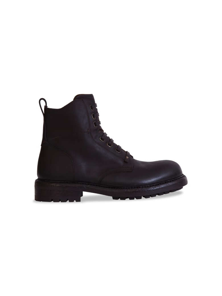 Dolce & Gabbana Cowhide Lace-up Ankle Boots - MARRONE