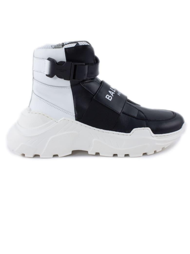 Balmain Black Leather High Top Trainers - Nero+bianco