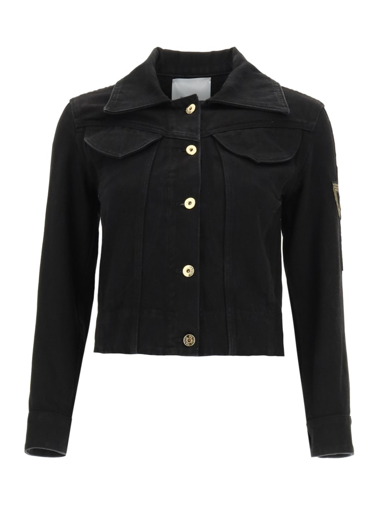 Patou Jacket In Organic Denim With Logo Embroidery - BLACK (Black)