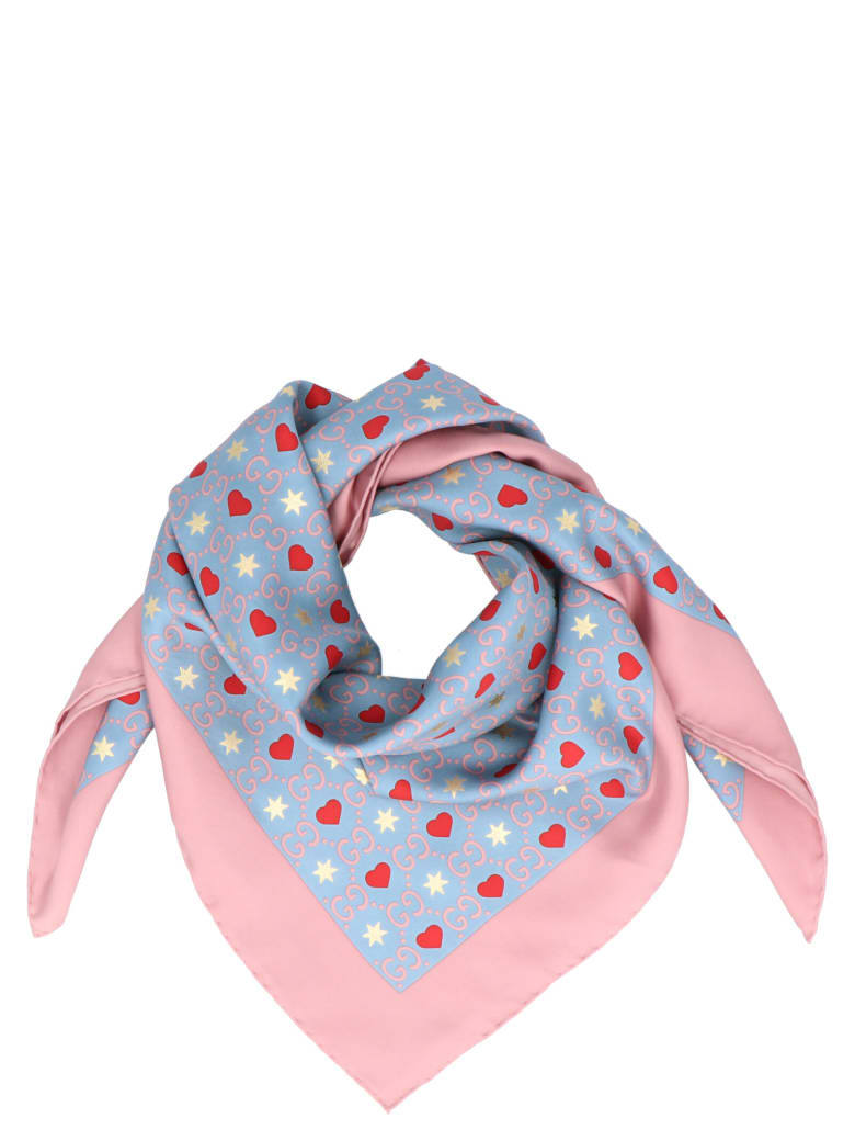 Gucci 'dimheart' Foulard - Sky blue/pink